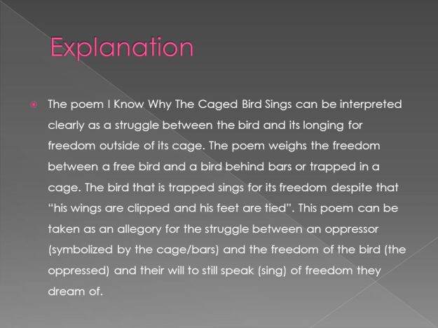 I Know Why the Caged Birds Sings - Explanation