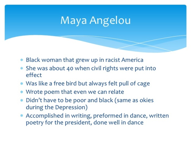 an analysis of the biography of maya angelou Poet and novelist maya angelou-born marguerite johnson-is born in st louis, missouri her parents divorced when she was three, and she and her brother went to live with their grandmother in stamps, arkansas.