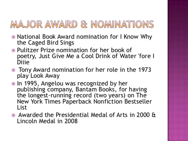 Maya Angelou - Major Awards and Nominations