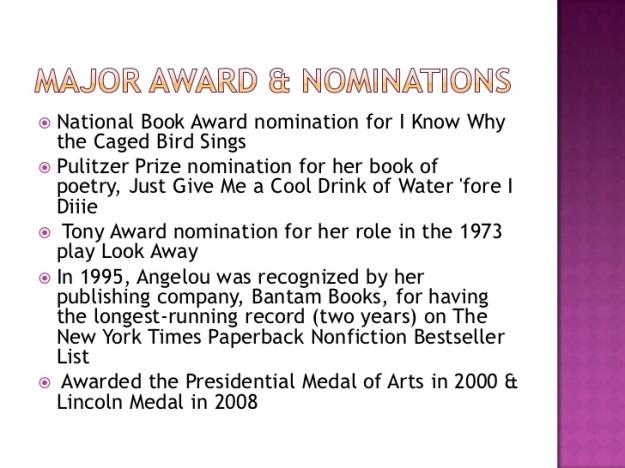 Maya Angelou - Major Awards and Nominations