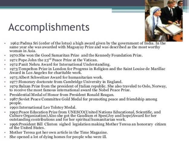 Mother Teresa - Accomplishments