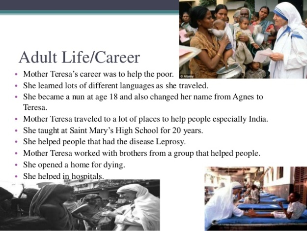 Mother Teresa - Adult Life Career