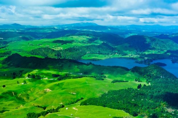Aerial view of Lake Tarawera, near Rotorua, north island, New Zealand