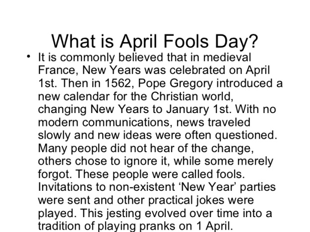 April Fool Day History