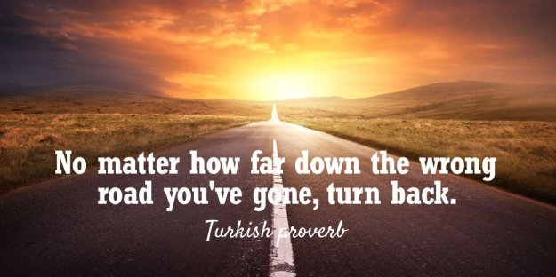 Turkish Proverb - No matter how far down the wrong road you've gone, turn back