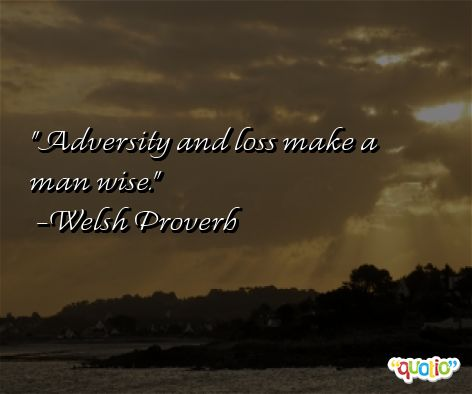 Welsh Proverb - Adversity and Loss make a Man Wise