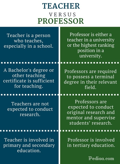 What is the Difference between a Teacher and a Professor
