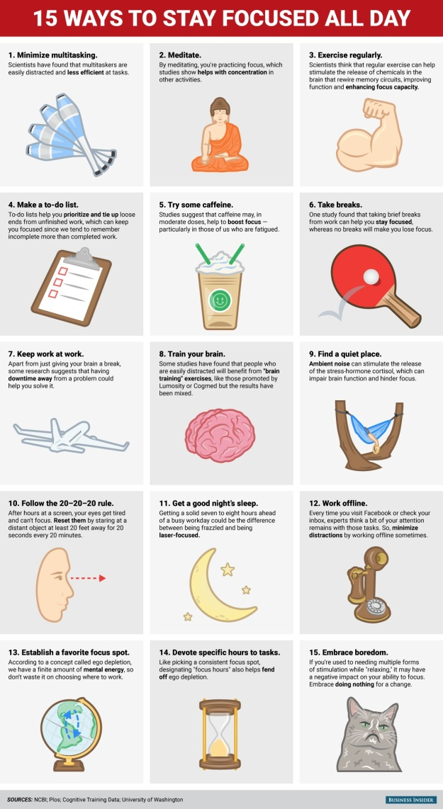 15 Ways to Stay Focused All Day