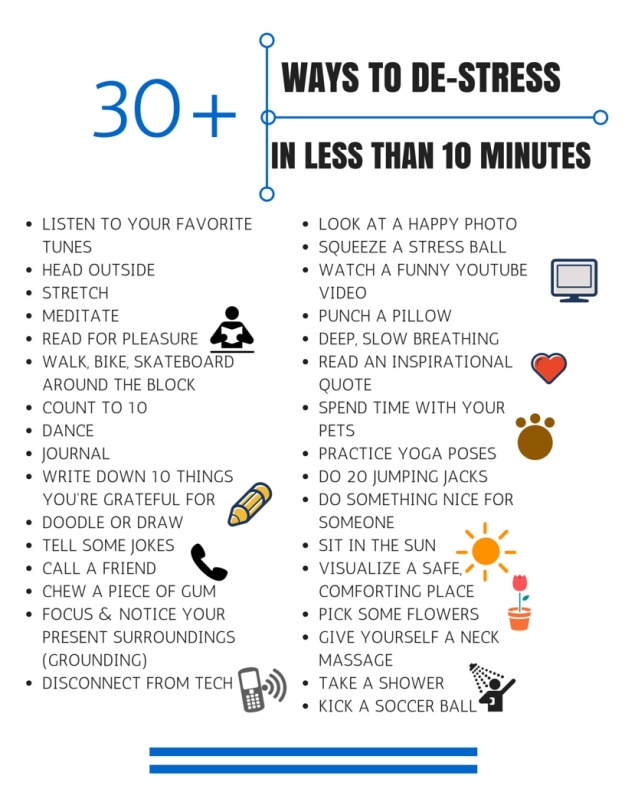 30 Ways to De-Stress in Less than 10 Minutes