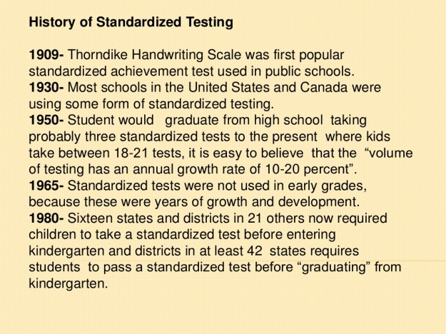 Standardized Testing Timeline