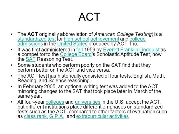 Who created the ACT Test 2