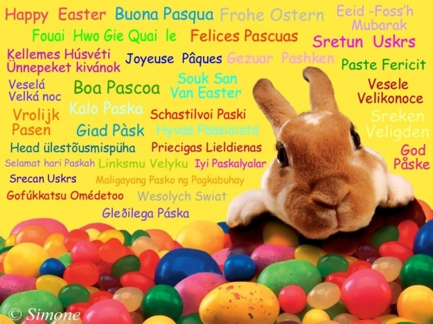 Happy Easter in All Languages and Cute Bunny