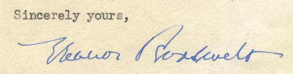 Eleanor Roosevelt Signature