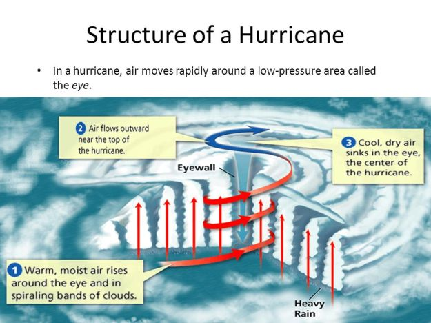 In a hurricane, air moves rapidly around a low-pressure area called the eye.