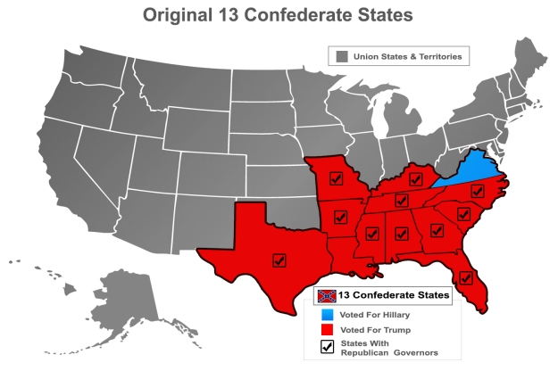 What were the 13 Confederate States